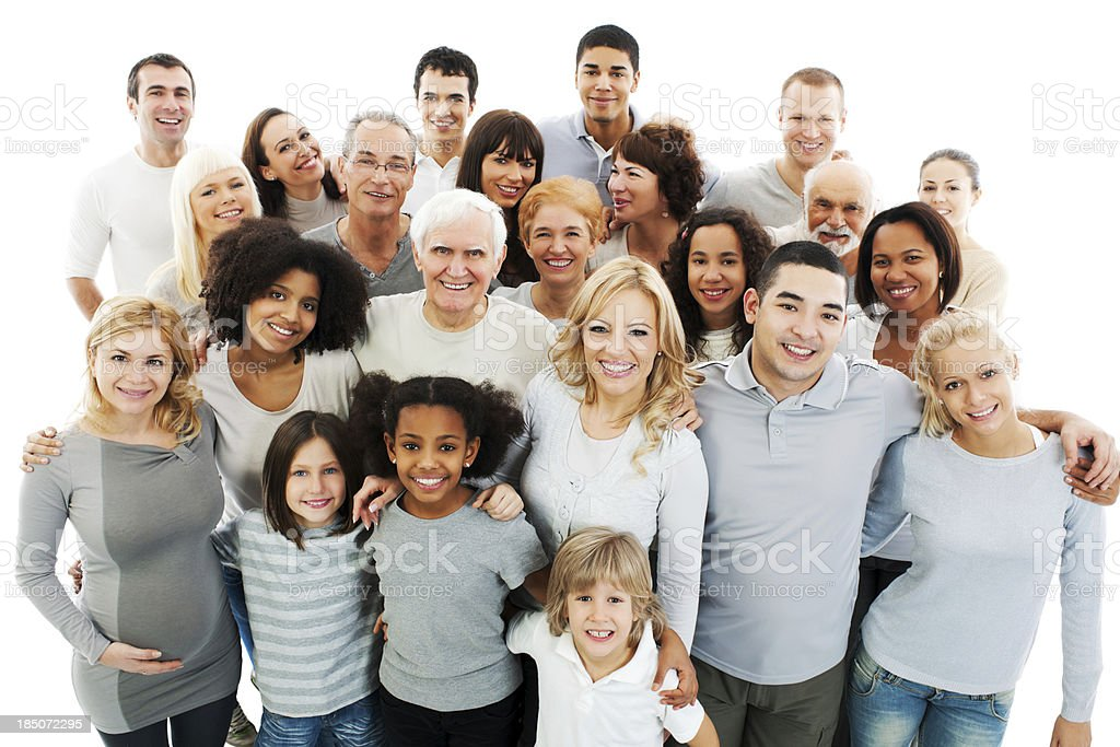 Large Group of Happy People smiling and embracing. royalty-free stock photo
