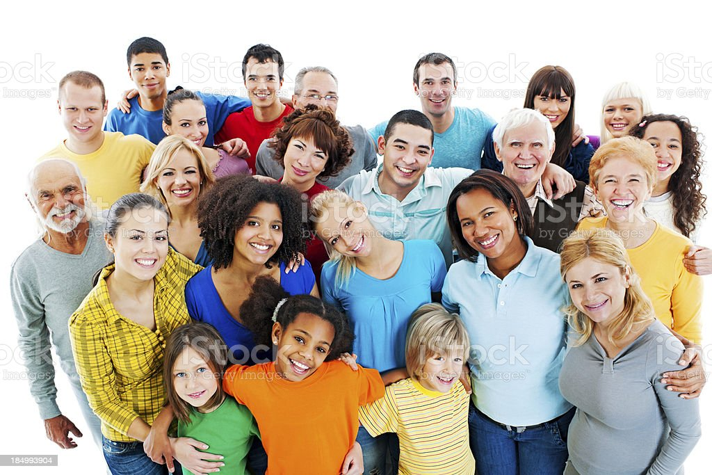 Large Group of Happy People standing together. stock photo