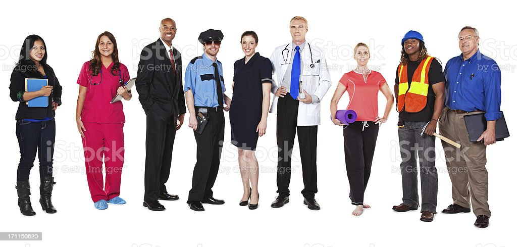 Large Group of Happy Professionals with Different Occupations stock photo