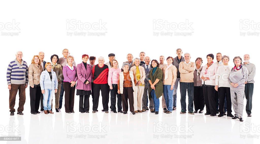 Large group of happy seniors. stock photo