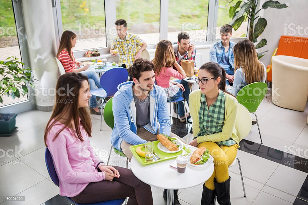 Large group of happy students communicating on a lunch break. stock photo