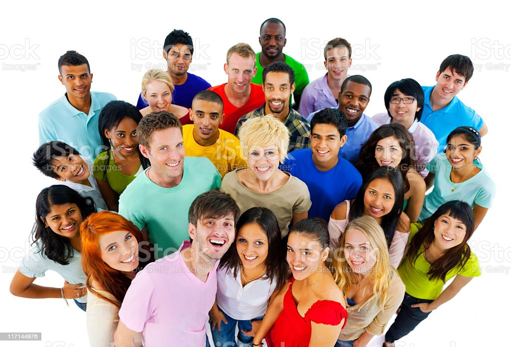 Large group of happy young people from around the World. royalty-free stock photo