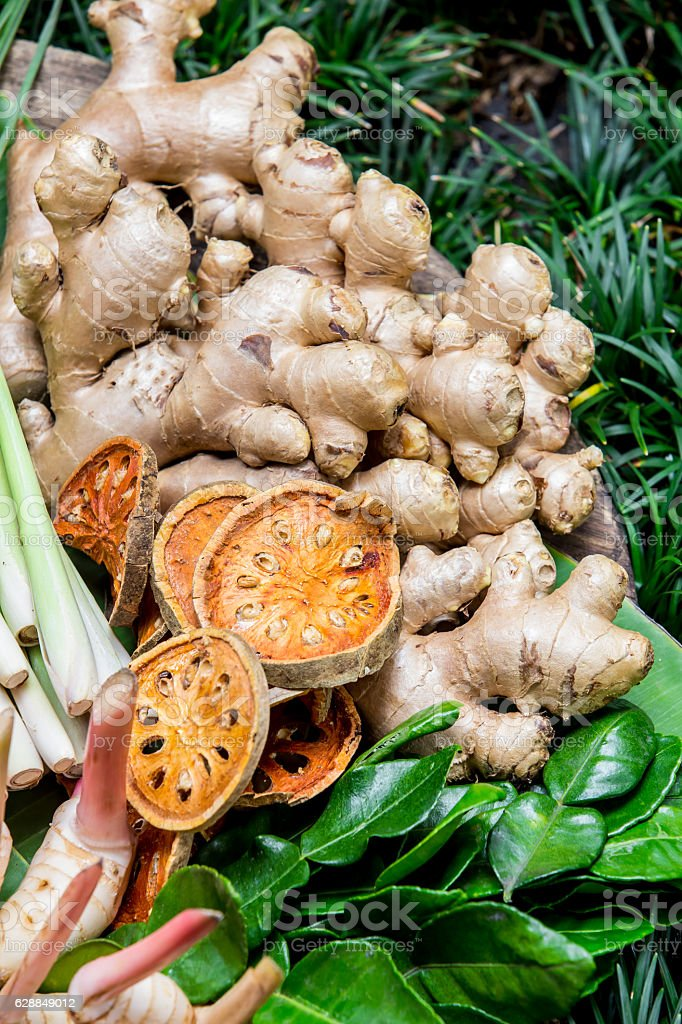 Large Group of Herb and vegetable Close up shot stock photo