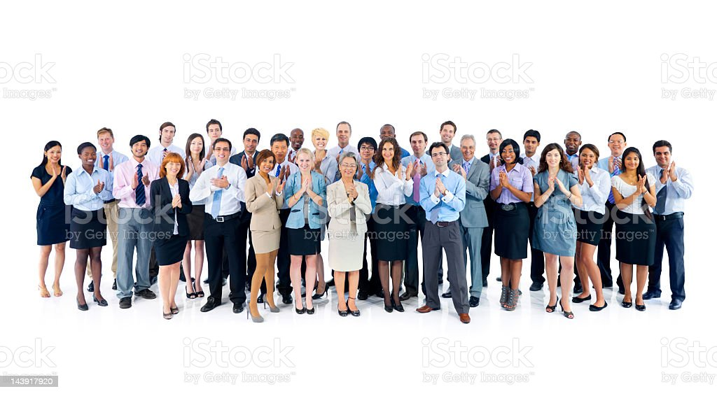 Large group of international business colleagues clapping hands stock photo