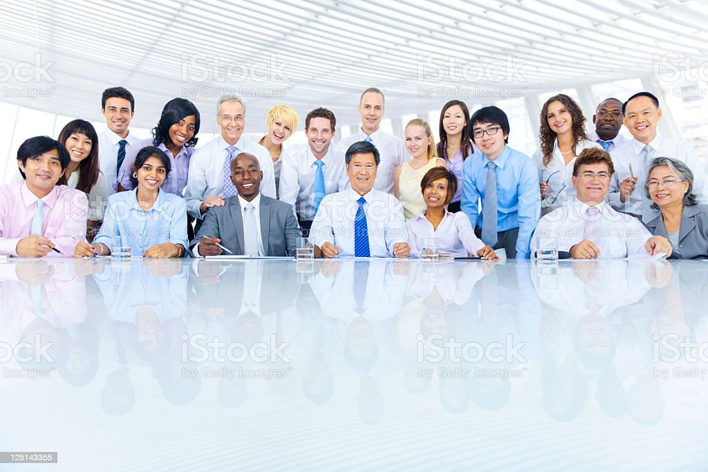 Large group of international business colleagues royalty-free stock photo
