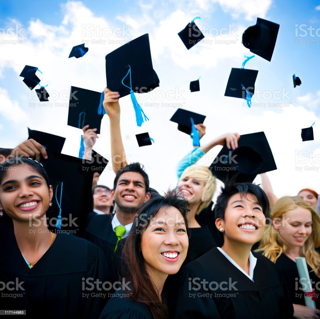 Large group of International students celebrating Graduation royalty-free stock photo