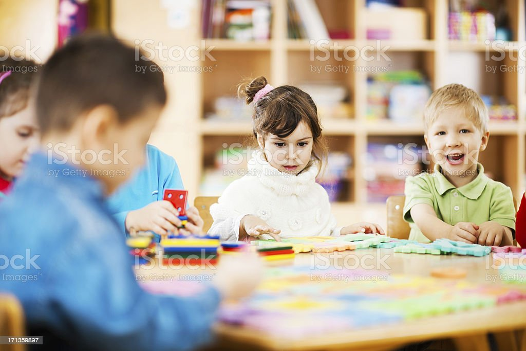 Large group of kids playing together royalty-free stock photo