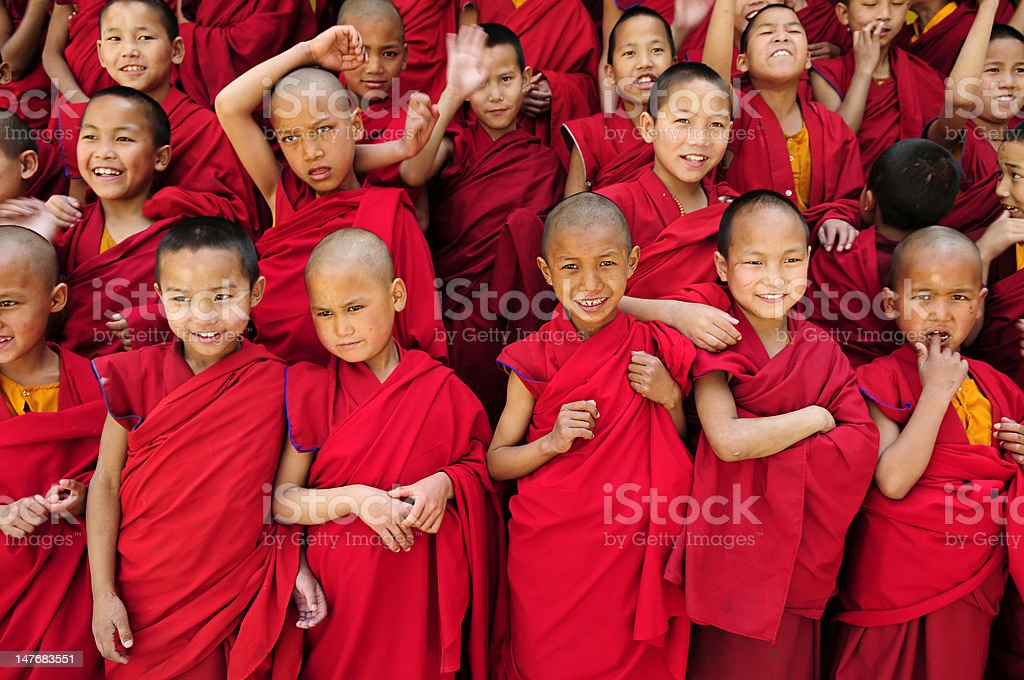 A large group of little Tibetan monks stock photo