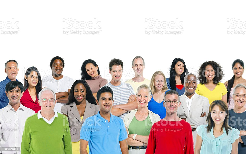 Large group of multi - ethnic people stock photo