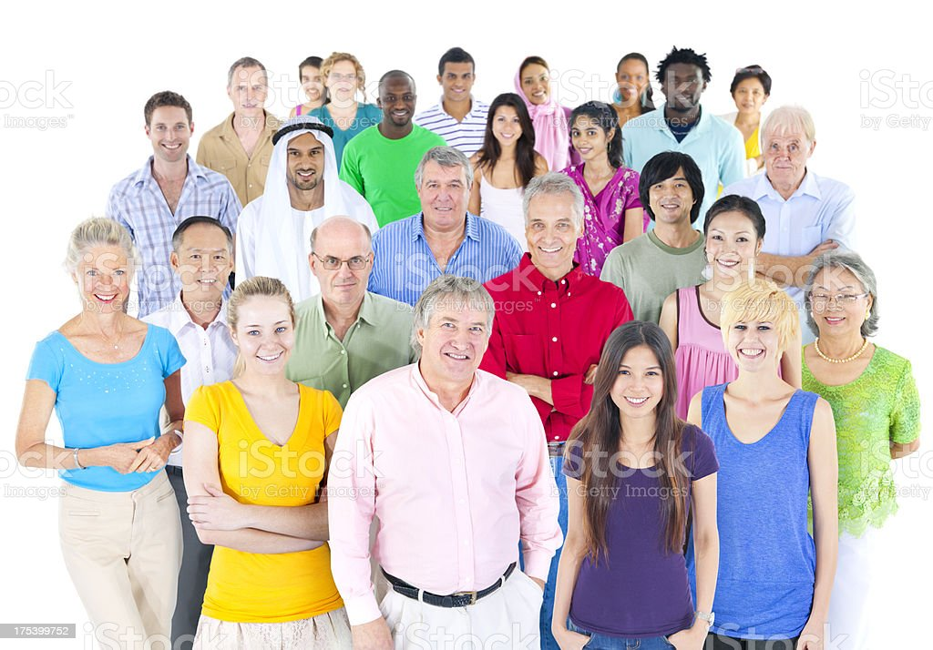Large group of multi ethnic real people royalty-free stock photo