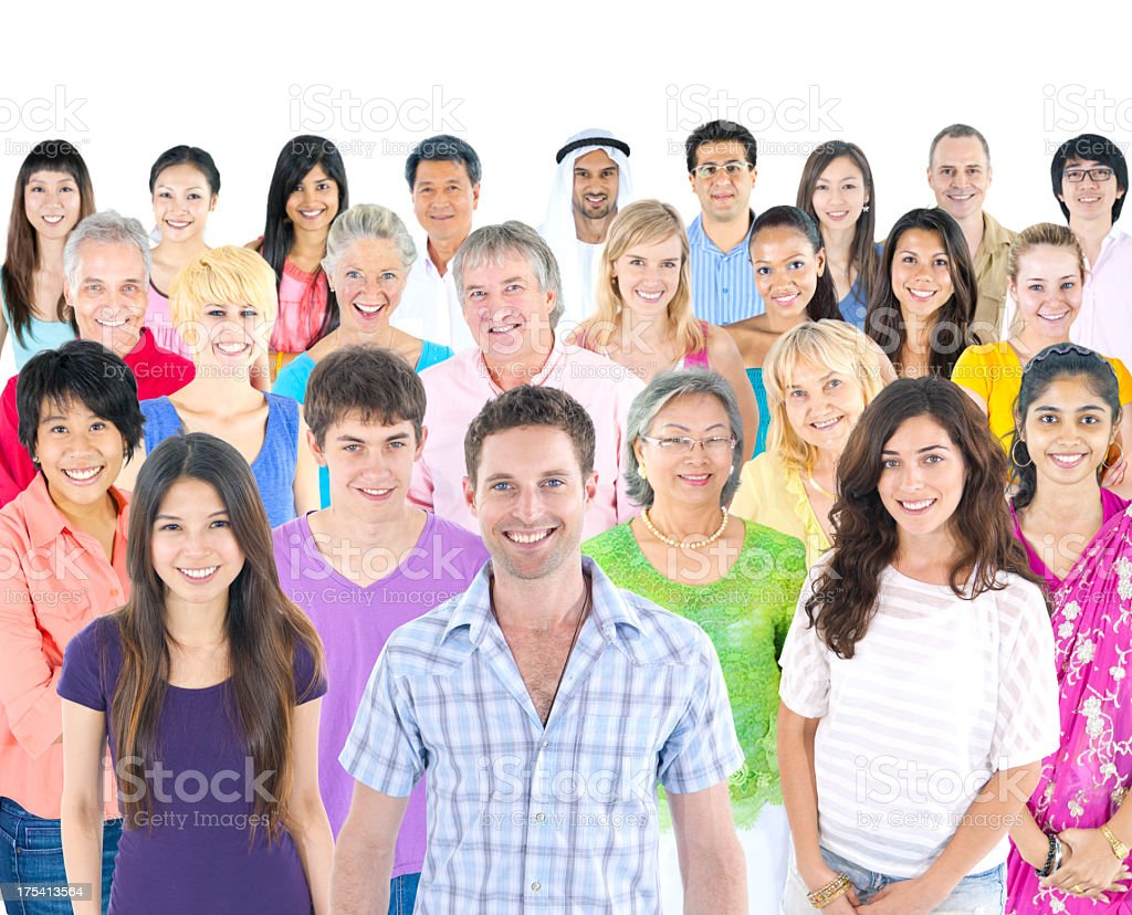 Large group of multi-ethnic casual people royalty-free stock photo