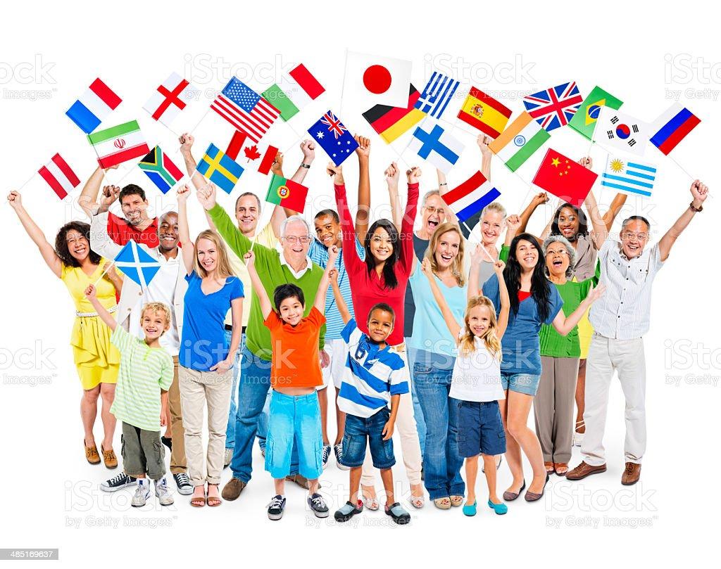 Large Group of Multi-Ethnic Diverse Mixed Age People Celebrating stock photo