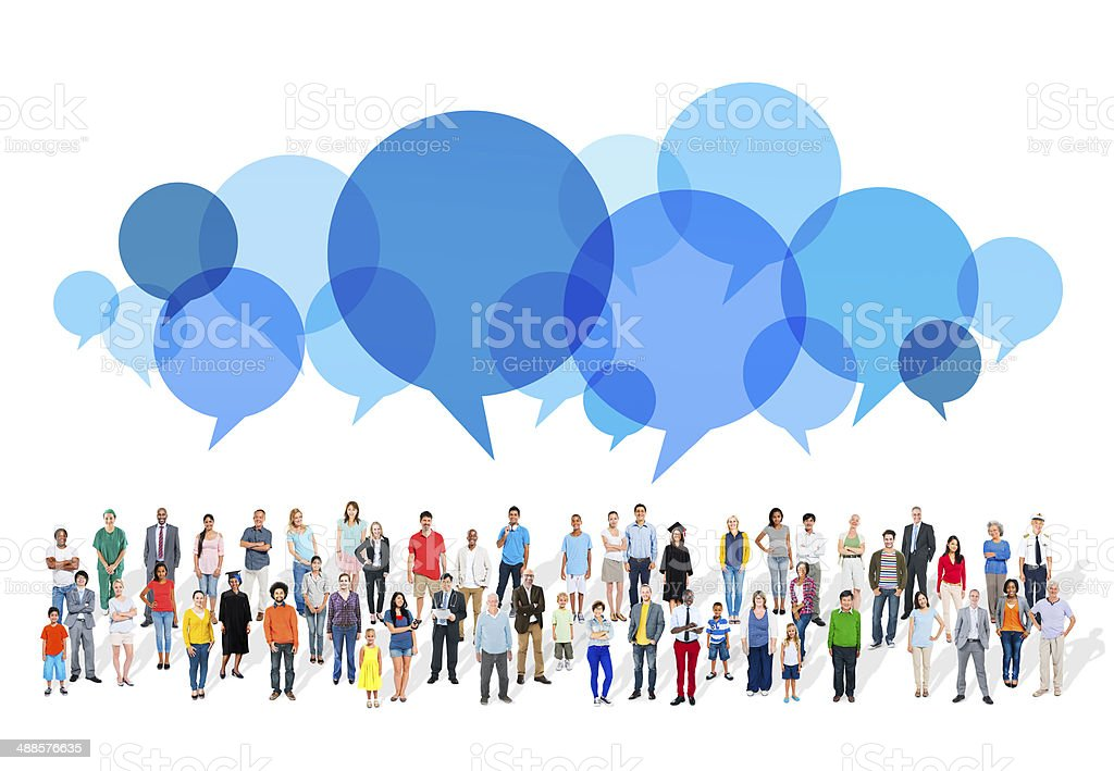Large Group of Multiethnic People with Speech Bubbles stock photo