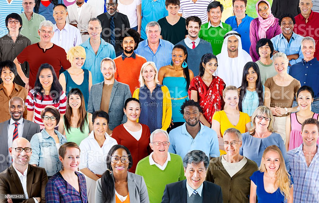 Large Group of Multiethnic World People stock photo