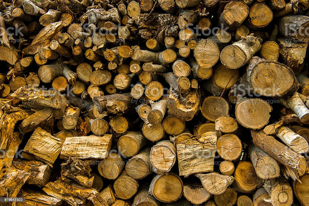 Large group of objects of firewoods stock photo
