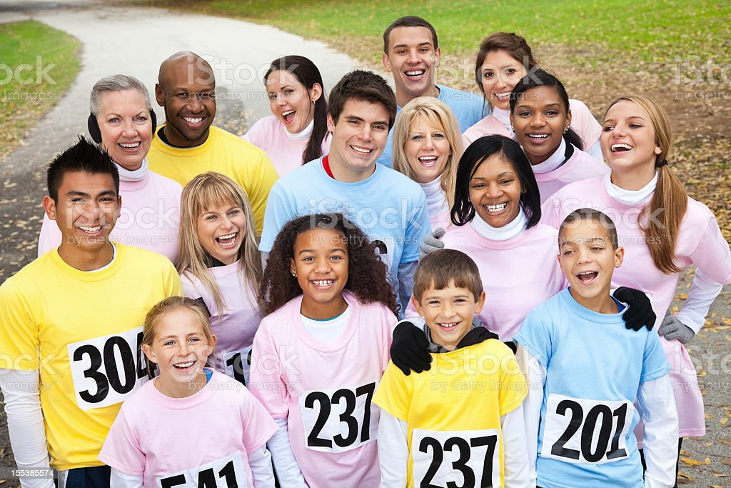 Large group of people at a charity race event royalty-free stock photo