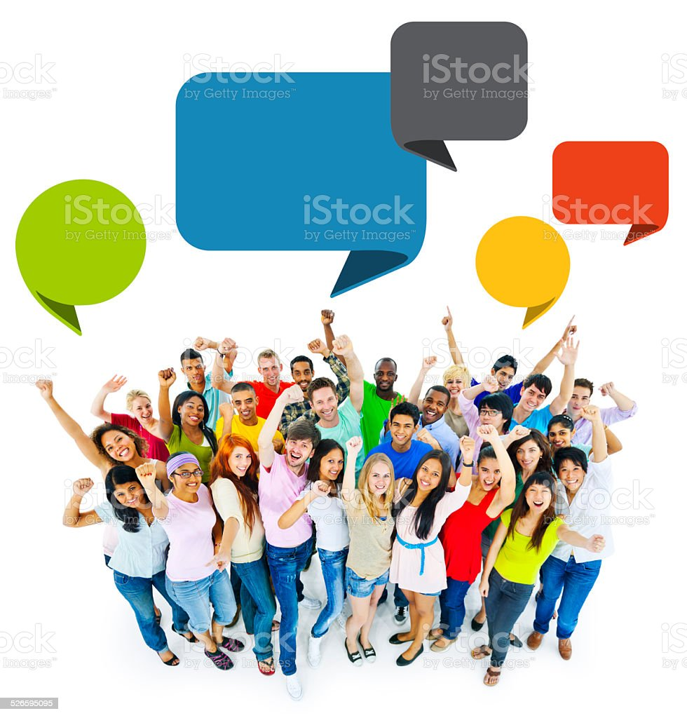 Large Group of People Celebrating stock photo