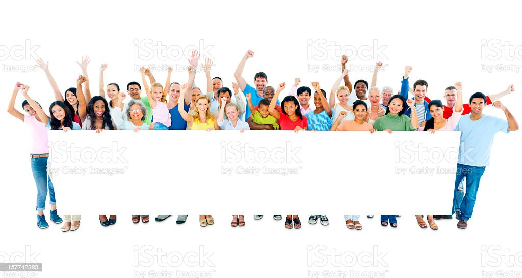 A large group of people holding a white blank banner royalty-free stock photo