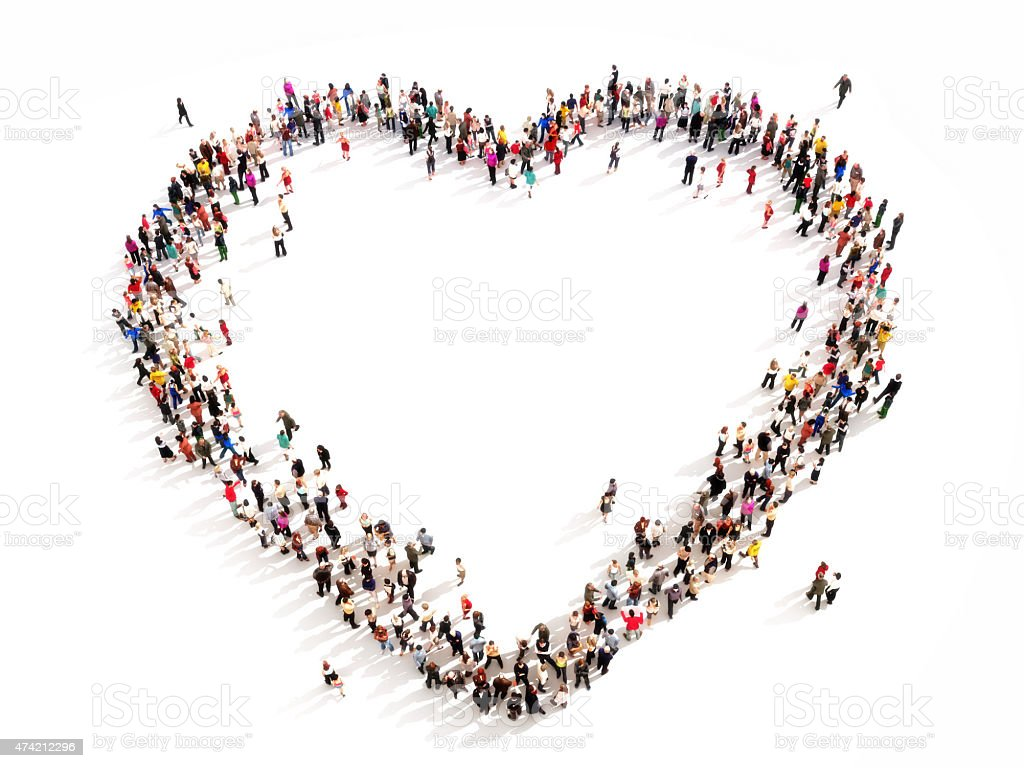 Large group of people in the shape of a heart. stock photo