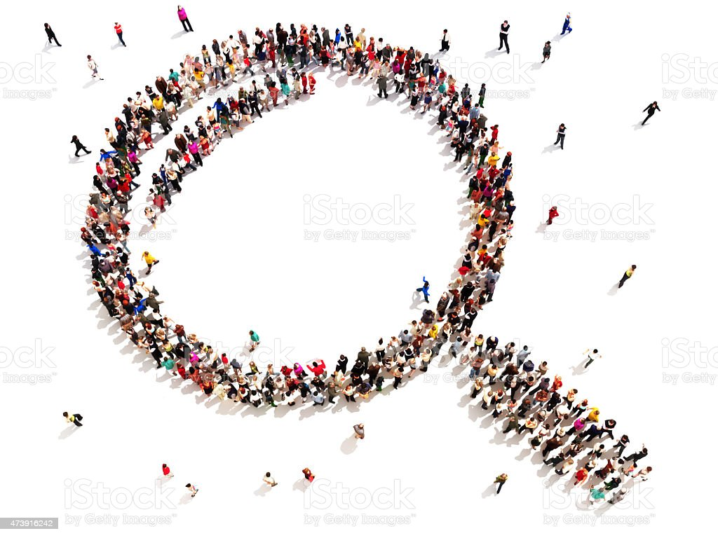 Large group of people in the shape of a magnifying glass. stock photo