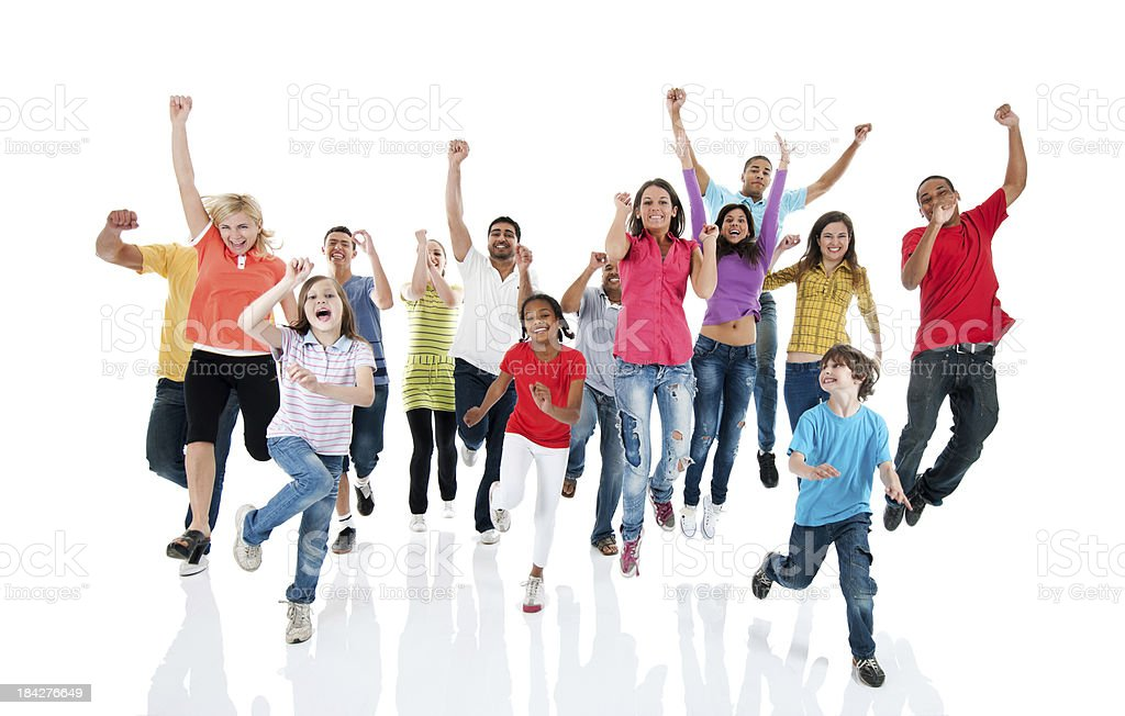 Large group of people jumping. stock photo