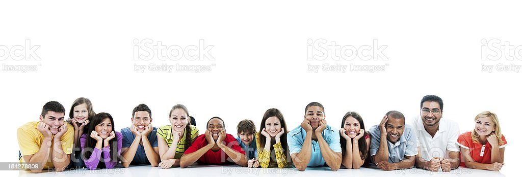 Large group of people lying down. royalty-free stock photo