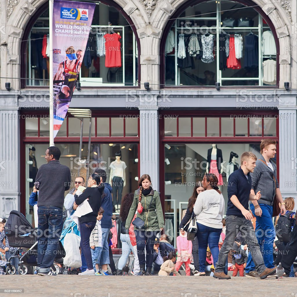 Large group of people on the Amsterdam Dam Square stock photo