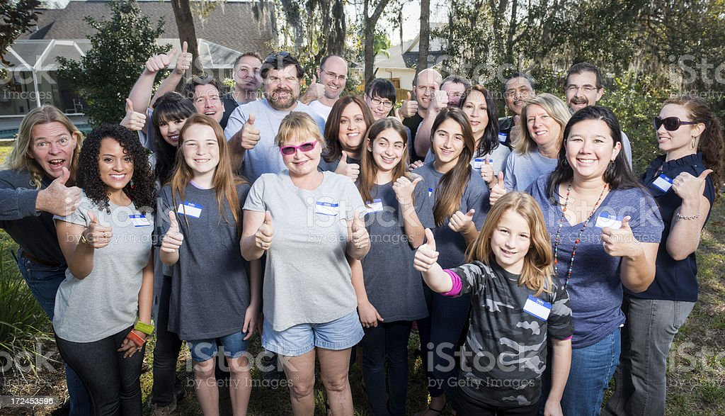 Large Group of People Outside at a Reunion royalty-free stock photo