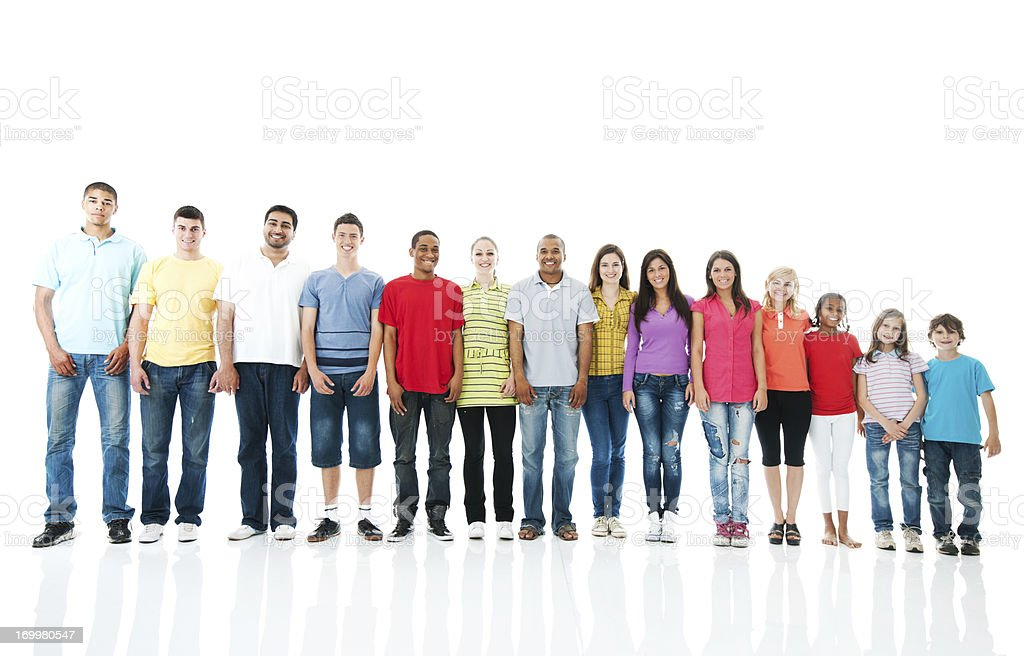 Large group of people standing next to each other. stock photo