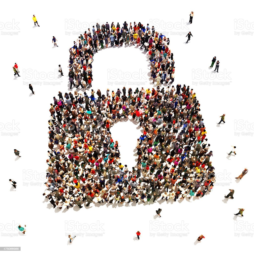 Large group of people that are seeking security protection stock photo