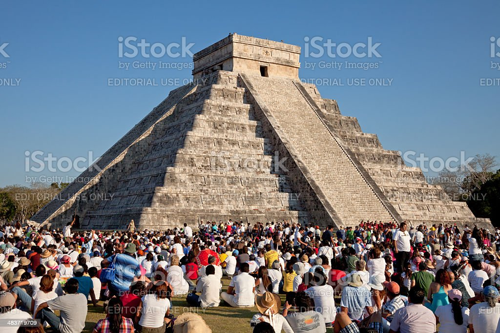Large Group of People Watching Spring Equinox at Chichen Itza stock photo
