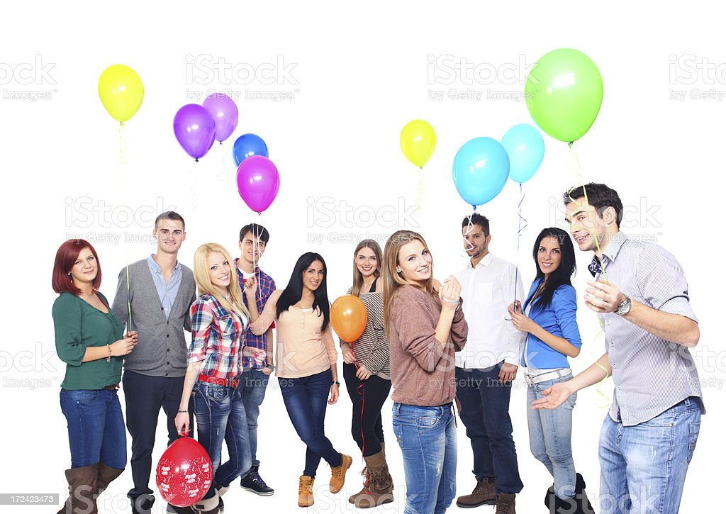 Large group of people with balloons. royalty-free stock photo