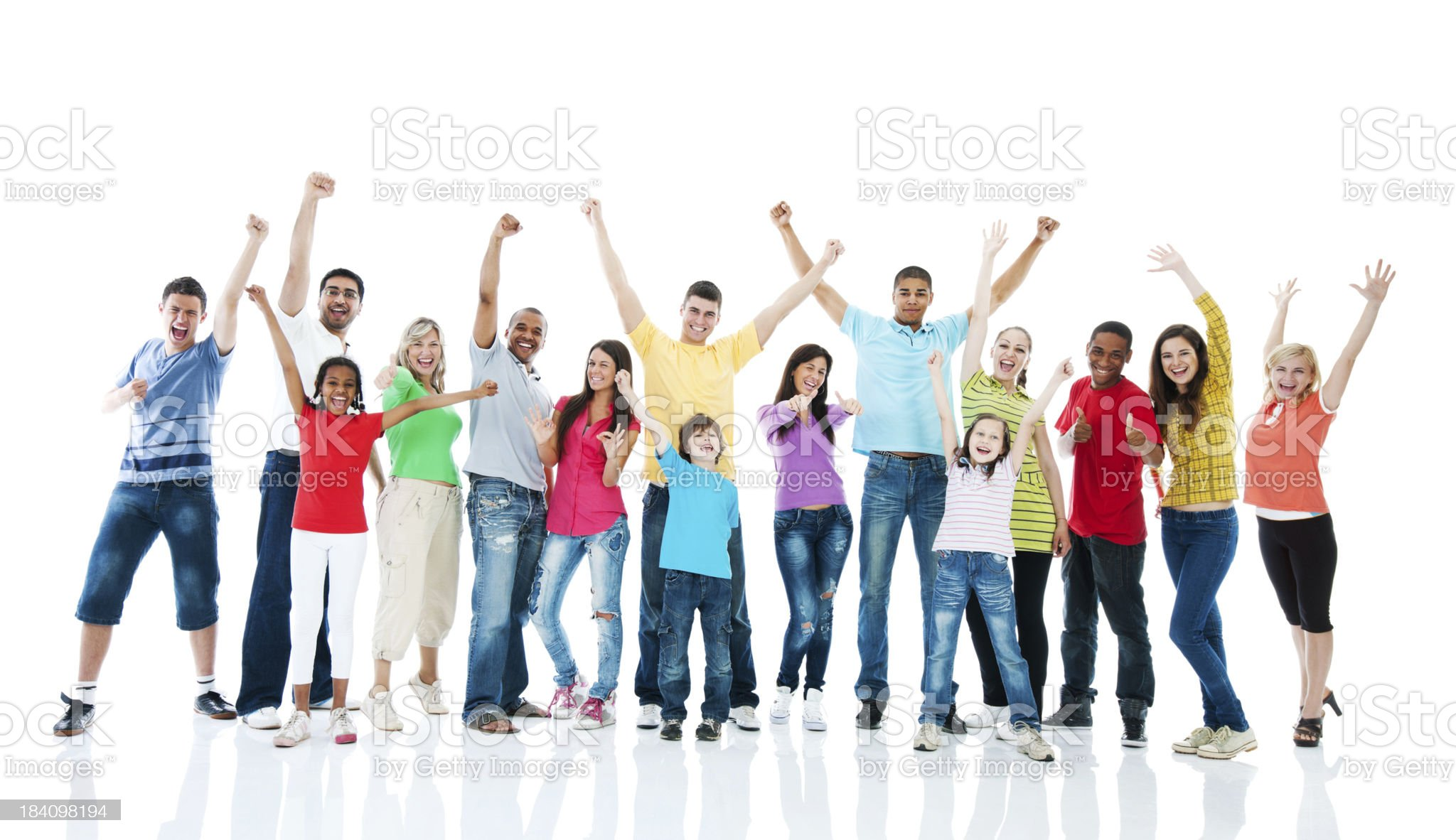 Large group of people with their hands up. royalty-free stock photo
