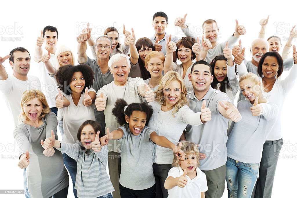Large group of people with their thumbs up. royalty-free stock photo