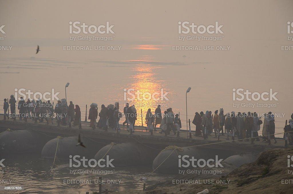 Large group of pilgrims passing bridge ,Kumbh mela 2013 royalty-free stock photo
