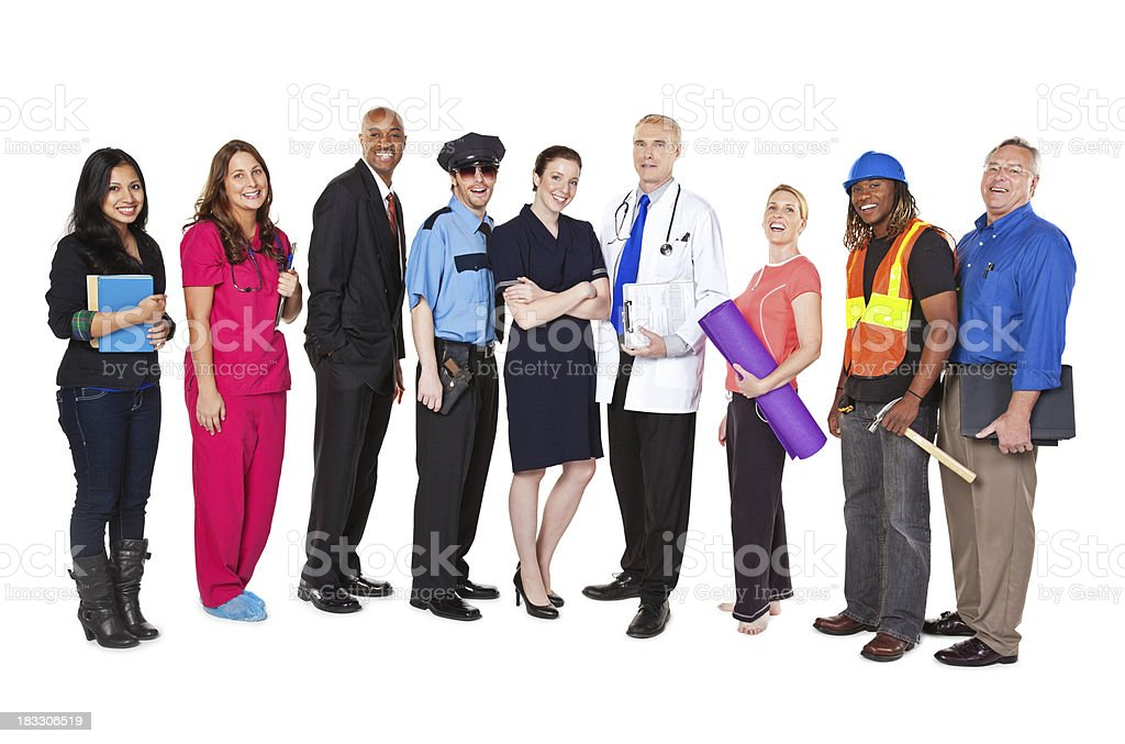 Large Group of Professionals with Different Occupations stock photo