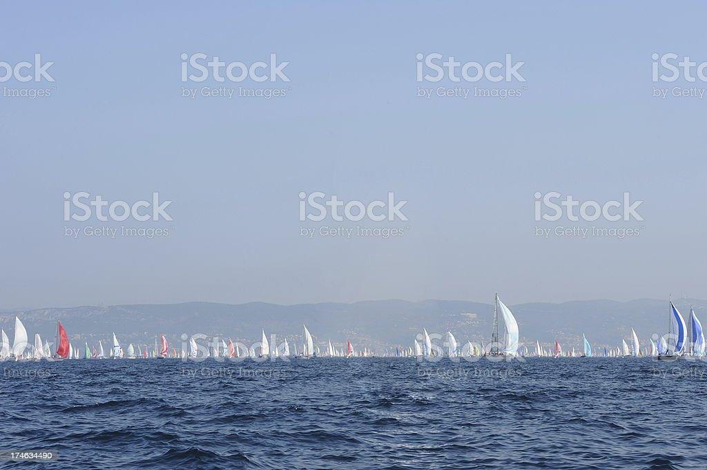 Large group of sailboats at Barcolana royalty-free stock photo