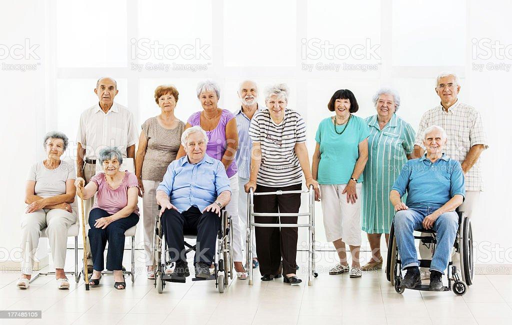 Large group of seniors. stock photo