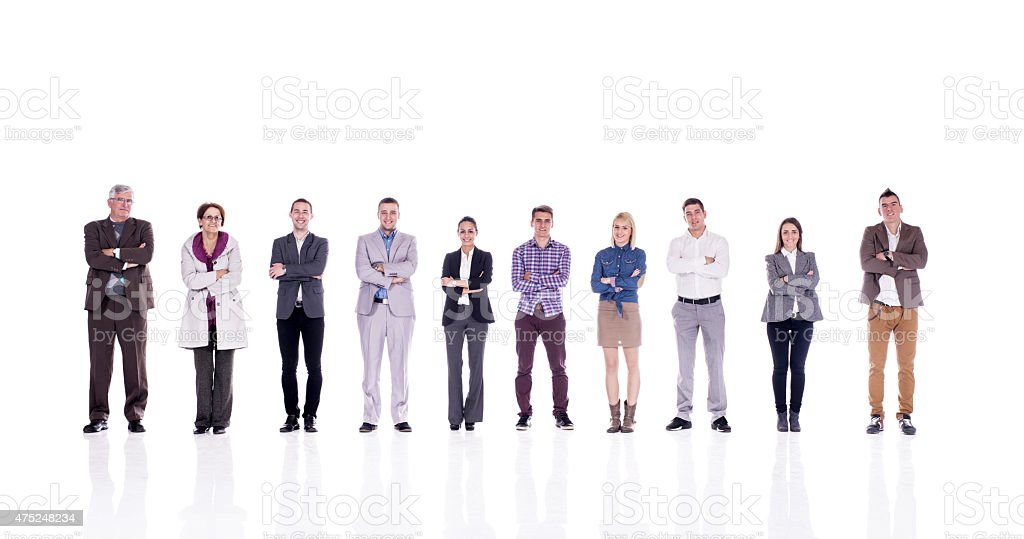 Large group of smiling business people with crossed arms. stock photo