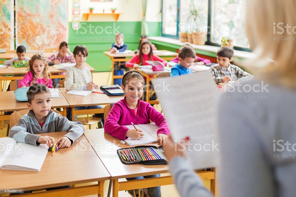 Large group of smiling elementary students attending a class. stock photo