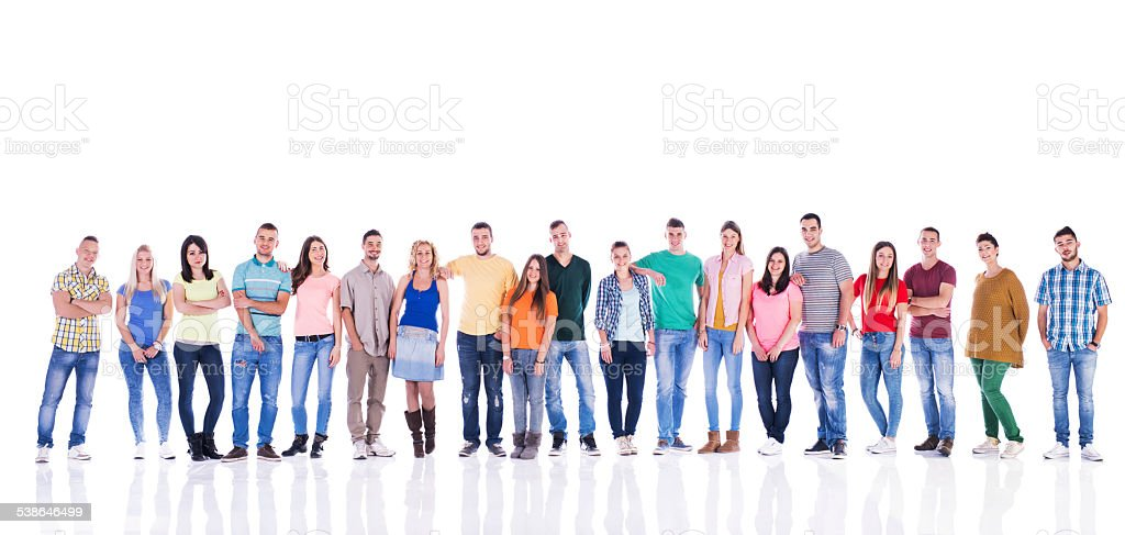 Large group of smiling young people. stock photo