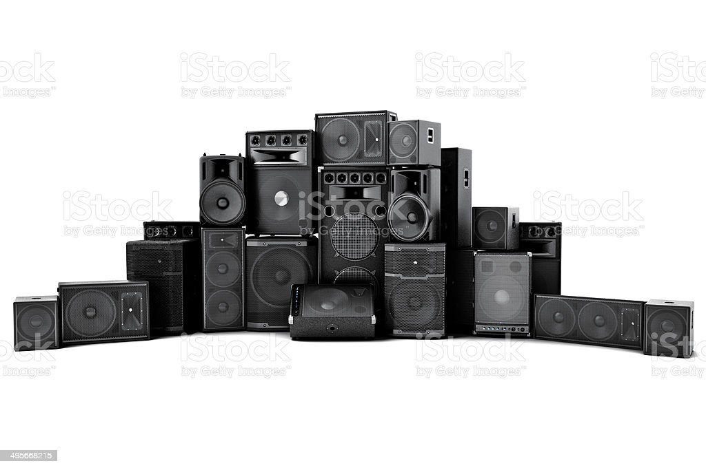 Large group of speakers in a row stock photo