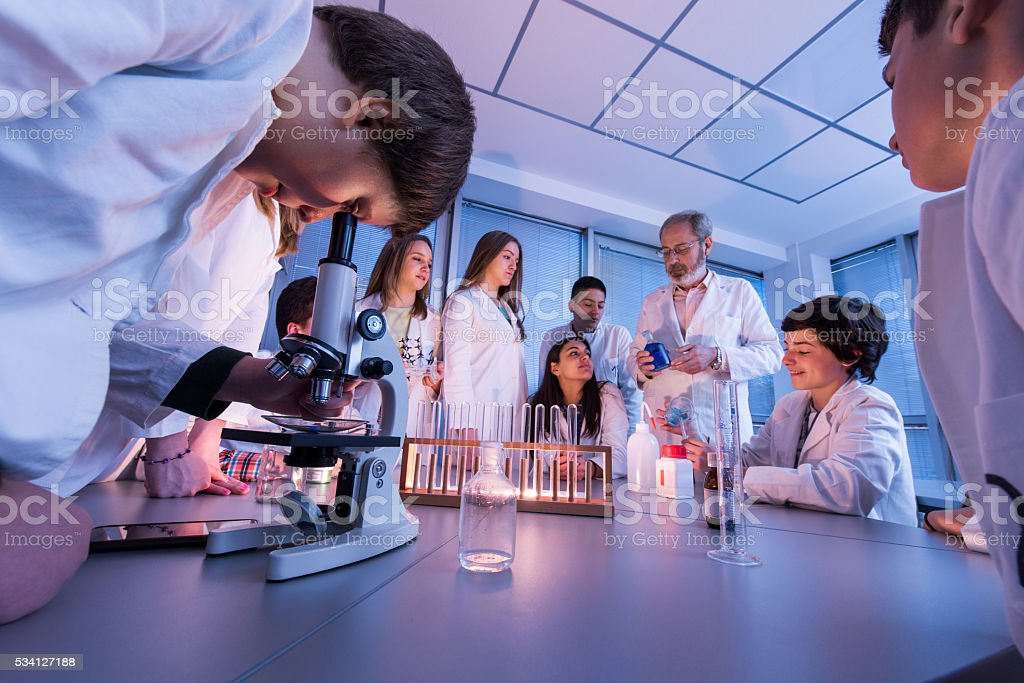Large group of students on a chemistry class with teacher. stock photo