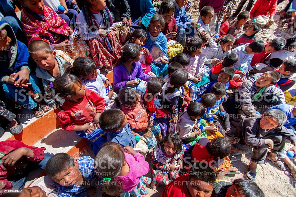 Large Group of Tarahumara Children In the Sierra Madre Mountains stock photo