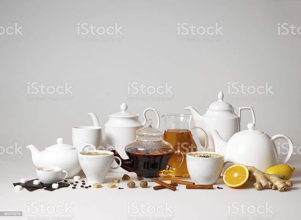 large group of tea and coffee cups royalty-free stock photo
