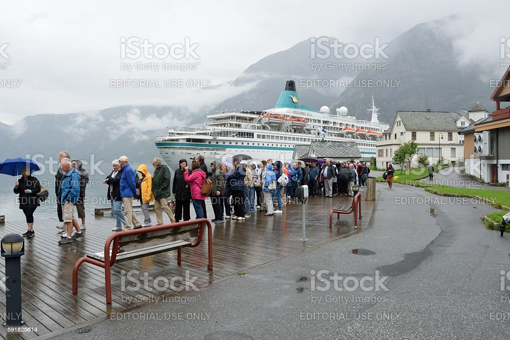 Large group of tourists from cruise ship on tour stock photo