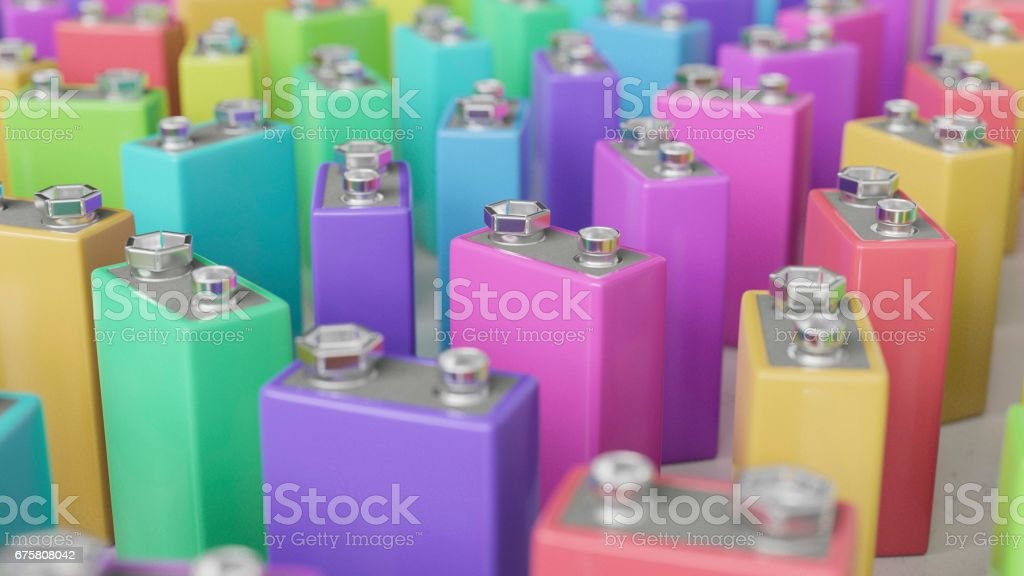 Large Group of Upright Colorful 9volt Batteries stock photo