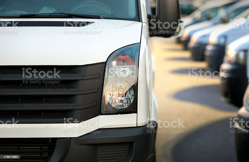 Large group of Vans / Transporters after work stock photo