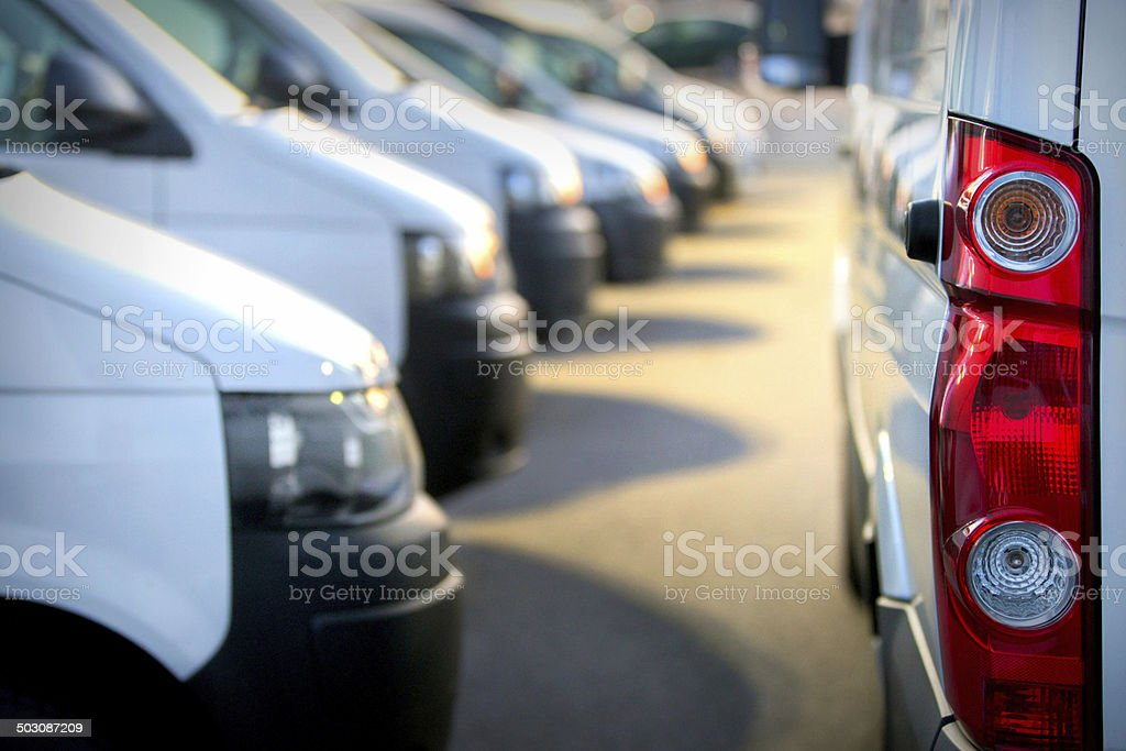 Large group of Vans / Transporters stock photo