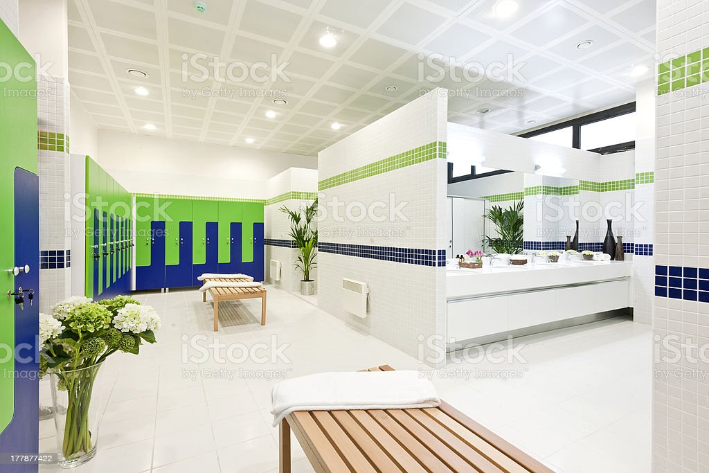 Large gym changing room stock photo